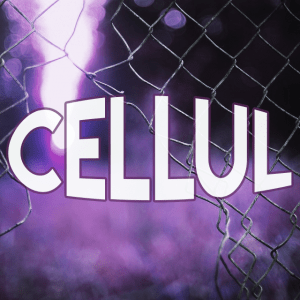 Icône du CELLUL de forme carrée. La teinte globale est violette. L'image montre une ouverture irrégulière dans le coin en bas et à gauche d'un grillage de fil de fer. Il y a un rayon de lumière au-delà du grillage en haut et à gauche. À l'avant-plan est écrit CELLUL en blanc, avec une forme elliptique.