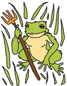Dessin d'un crapaud entouré de longues herbes. Il tient une fourche dans sa patte avant droite. Le crapaud est vert pâle, ses yeux sont jaune-orange et son ventre est couleur paille. Il regarde vers la gauche derrière l'observateur. Les longues herbes sont vertes et dessinées grossièrement autour du crapaud, ne passant jamais devant. La fourche est jaune-orange et son manche est brun.