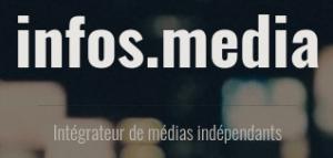 """Image du site infos.media, écrit en blanc en haut. Plus bas est écrit """"Intégrateur de médias indépendants"""". L'arrière-plan est majoritairement noir, avec des effets de lumières flous."""