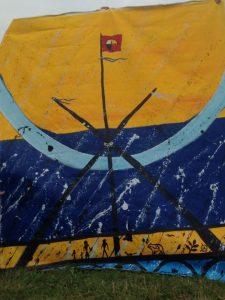 Toile peinte par l'artiste atikamekw Jacques Newashish lors de Mitshetuteuat II pour l'Alliance Mamo. Megwetch Monsieur Newashish !