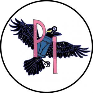 """Icône de Projections Insurgées, de forme ronde. À l'intérieur d'un cercle noir rempli de blanc se trouve un corbeau, aux plumes noir-bleuté avec éclats jaunes sur ses ailes déployées, vêtu d'un habit bleu avec un harnais et muni d'une lampe de projection cinématographique frontale. À l'avant-plan est écrit en rose """"P I""""."""