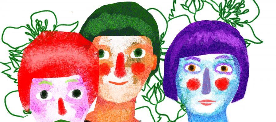 Dessin de trois visages stylisés rappelant une peinture. Le visage de gauche est rose aux cheveux courts rouges, yeux noirs et aux lèvres et sourcils verts. Celui du centre est beige aux cheveux et yeux verts, joues et lèvres rouges. Celui de droite est bleu, aux cheveux, sourcils, yeux et nez mauves, et aux joues et lèvres rouges. L'arrière-plan est blanc avec des lignes vertes de contour de fleurs.