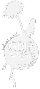 Logo du GRIP UQAM, une boule blanche représentant la terre avec GRIP UQAM 25 ans écrit à l'intérieur, un petit arbre et un plus grand pissenlit sortant d'en haut avec deux racines sortant par le dessous-gauche. Sur la boule se tien les mots écologie sociale en blanc.