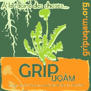 """Logo du GRIP-UQAM de forme carrée. Au centre se trouve une silhouette de pissenlit en fleur de couleur vert lime. Au-dessus est du pissenlit est écrit en vert foncé entouré de vert lime: """"À la racine des choses"""" suivi de quatre points de suspension. Des racines de pissenlit sont en arrière-plan de ces mots, dans le coin haut gauche du carré. À droite, écrit à la verticale et en orange se lit l'adresse du site du GRIP, soit """"gripuqam.org"""". En bas de la fleur, il y a une forme orange presque rectangulaire, comme si elle y était plantée. Il y est écrit """"GRIP UQAM"""" et la tige du pissenlit sort du """"i"""" de GRIP. Tout en bas est écrit en petit """"Groupe de Recherche en Intérêt Public de l'UQAM"""". L'arrière-plan est transparent (le fond d'écran est noir)."""
