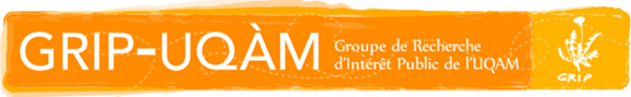 """Bannière du GRIP-UQAM. Elle est orange. Les écritures et dessins dessus sont blancs. D'abord, à gauche et en gros se lit """"GRIP-UQAM"""", puis en plus petit à droite """"Groupe de Recherche d'Intérêt Public de l'UQAM"""". Enfin, au bout à droite se trouve le logo du GRIP, sur fond jaune-orange. Le logo montre la silhouette d'un pissenlit en fleur, avec un feuillage garni avec """"GRIP"""" écrit juste en dessous, d'une écriture de type manuscrite."""